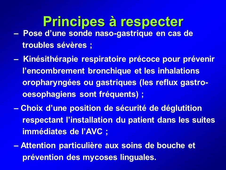Principes à respecter – Pose d'une sonde naso-gastrique en cas de troubles sévères ;