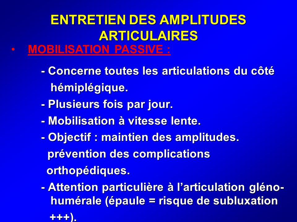 ENTRETIEN DES AMPLITUDES ARTICULAIRES