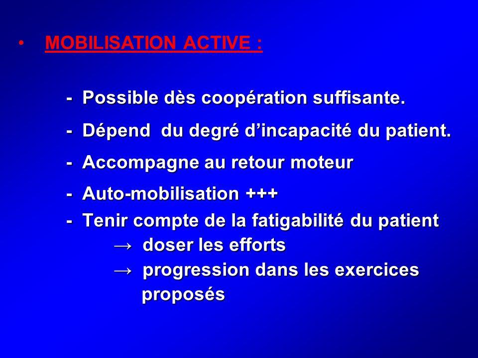 MOBILISATION ACTIVE : - Possible dès coopération suffisante. - Dépend du degré d'incapacité du patient.