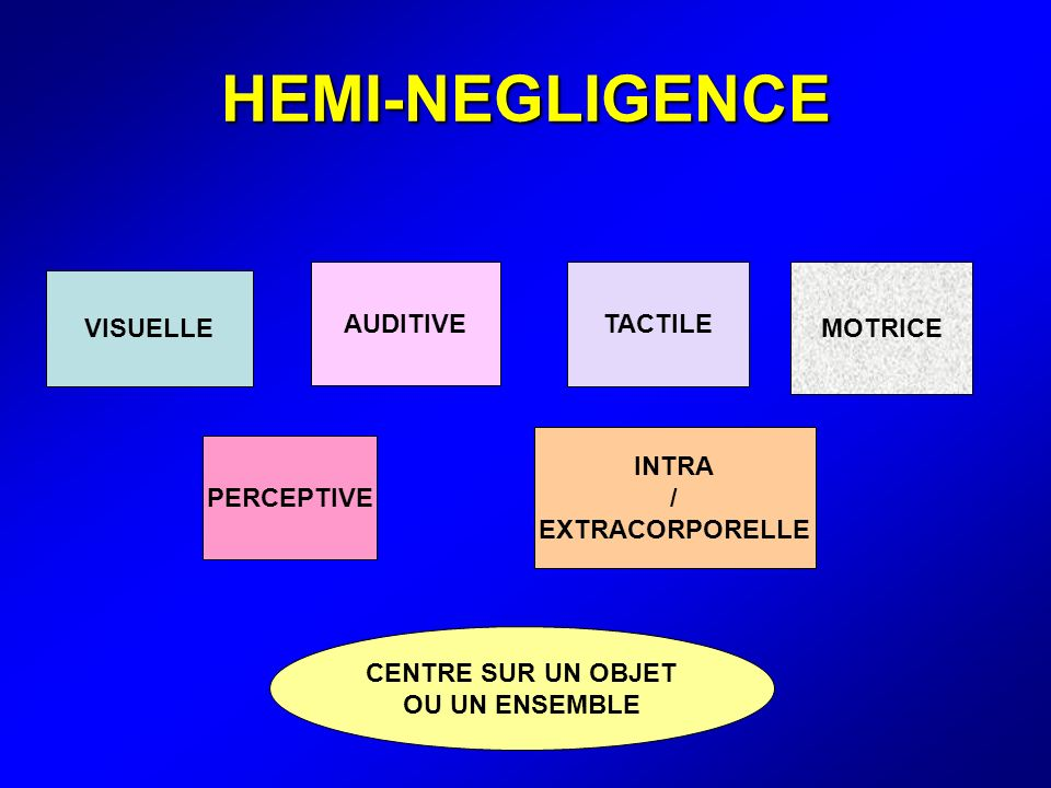 HEMI-NEGLIGENCE AUDITIVE TACTILE MOTRICE VISUELLE INTRA /