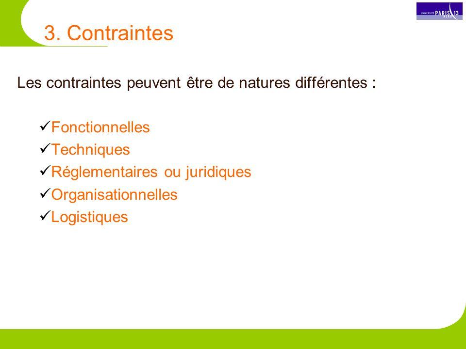 3. Contraintes Les contraintes peuvent être de natures différentes :