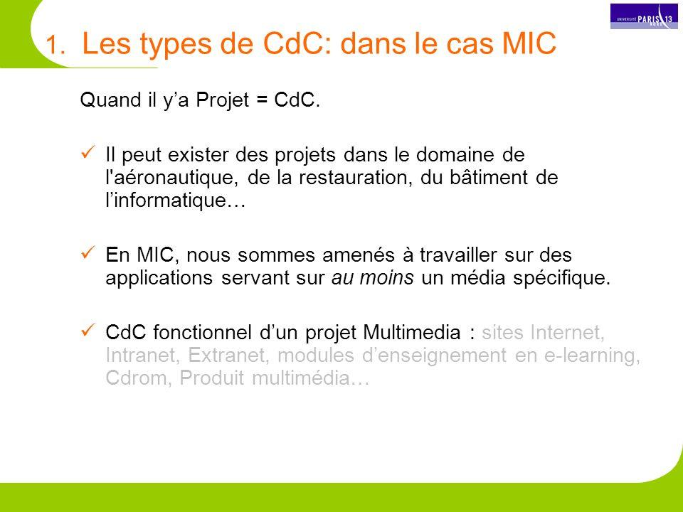 1. Les types de CdC: dans le cas MIC