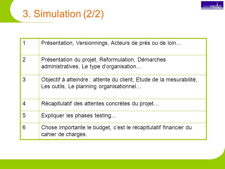 3. Simulation (2/2) 1. Présentation, Versionnings, Acteurs de prés ou de loin… 2.