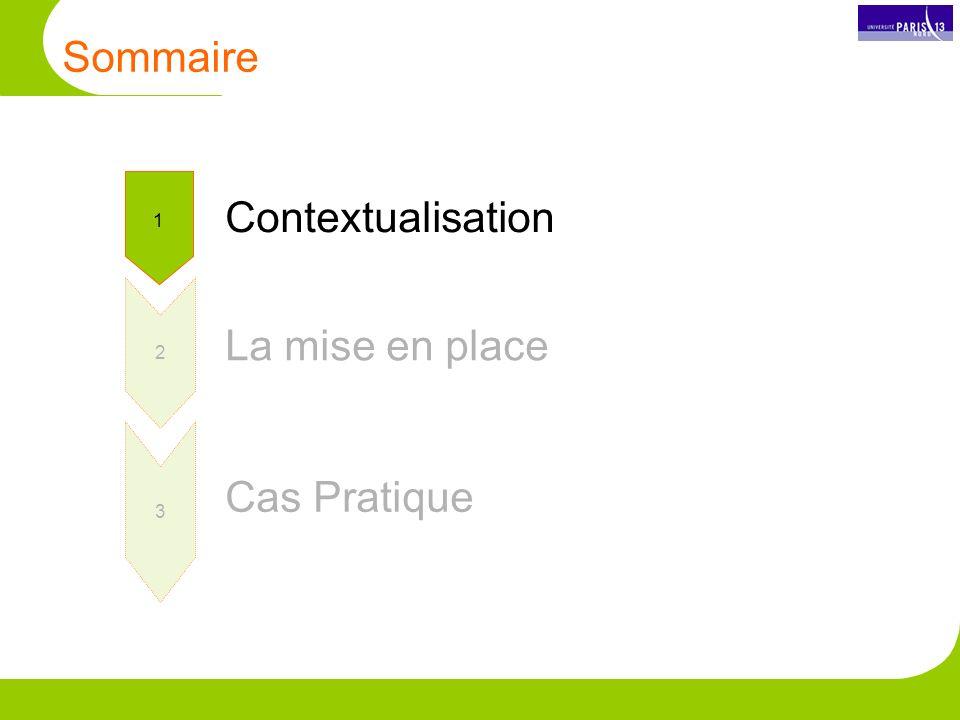 Sommaire Contextualisation 1 2 La mise en place Cas Pratique 3