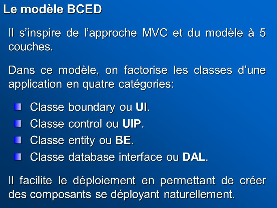 Le modèle BCED Il s'inspire de l'approche MVC et du modèle à 5 couches.