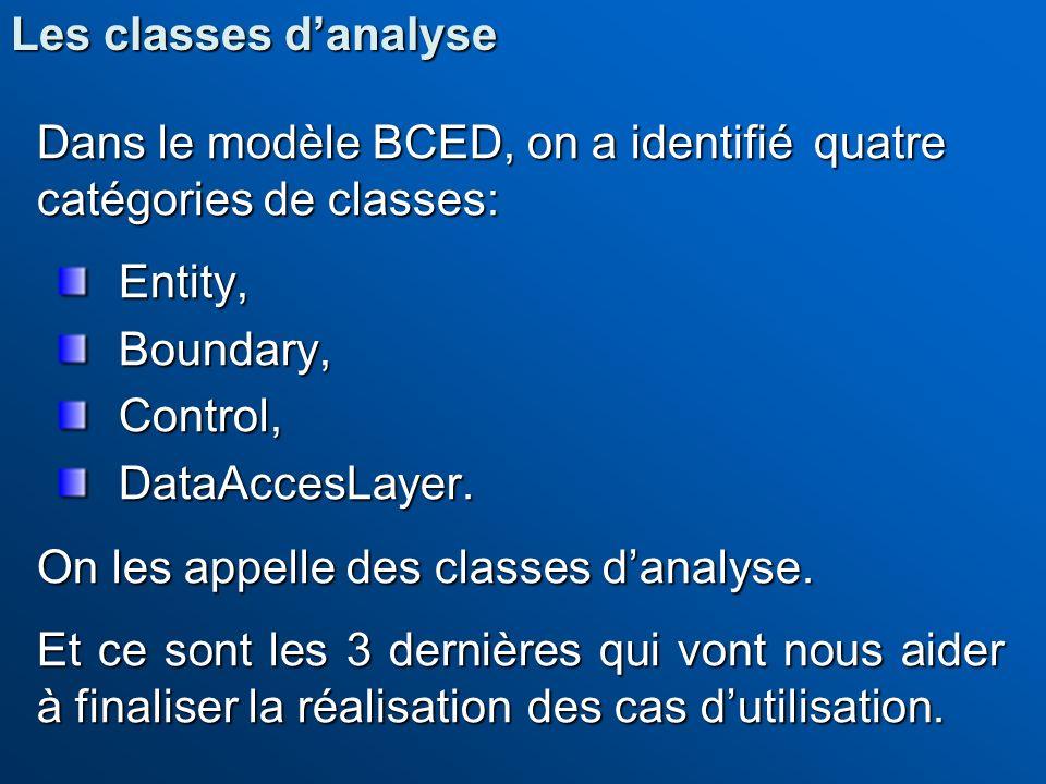 Dans le modèle BCED, on a identifié quatre catégories de classes: