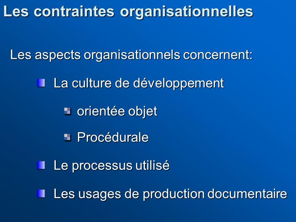 Les contraintes organisationnelles