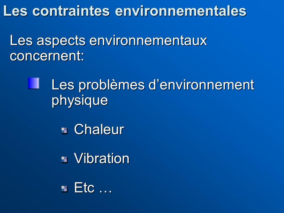 Les contraintes environnementales