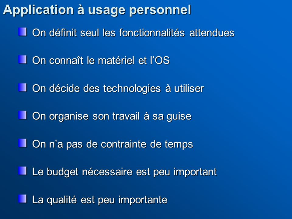 Application à usage personnel