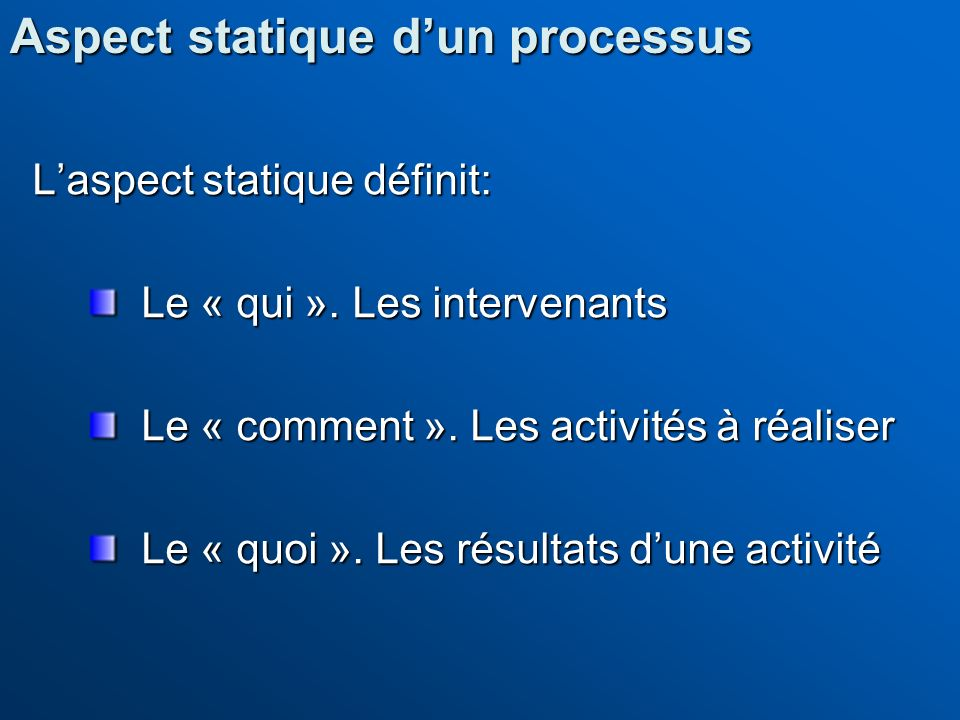 Aspect statique d'un processus
