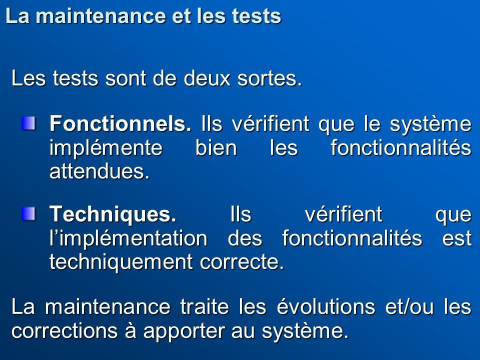 Les tests sont de deux sortes.