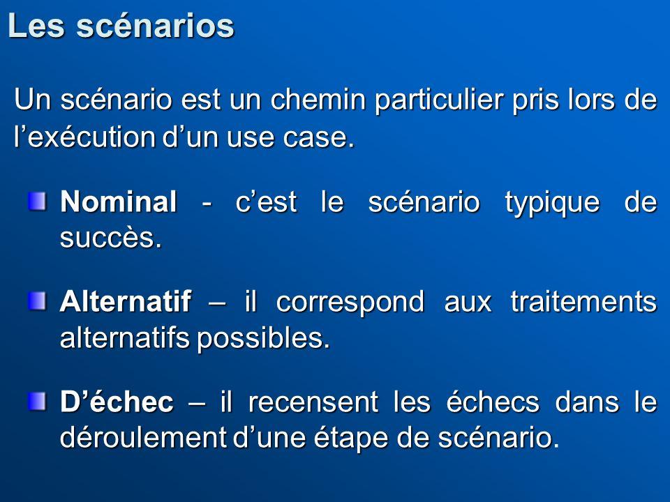 Les scénarios Un scénario est un chemin particulier pris lors de l'exécution d'un use case. Nominal - c'est le scénario typique de succès.