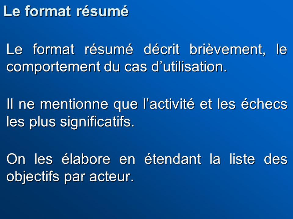 Le format résumé Le format résumé décrit brièvement, le comportement du cas d'utilisation.