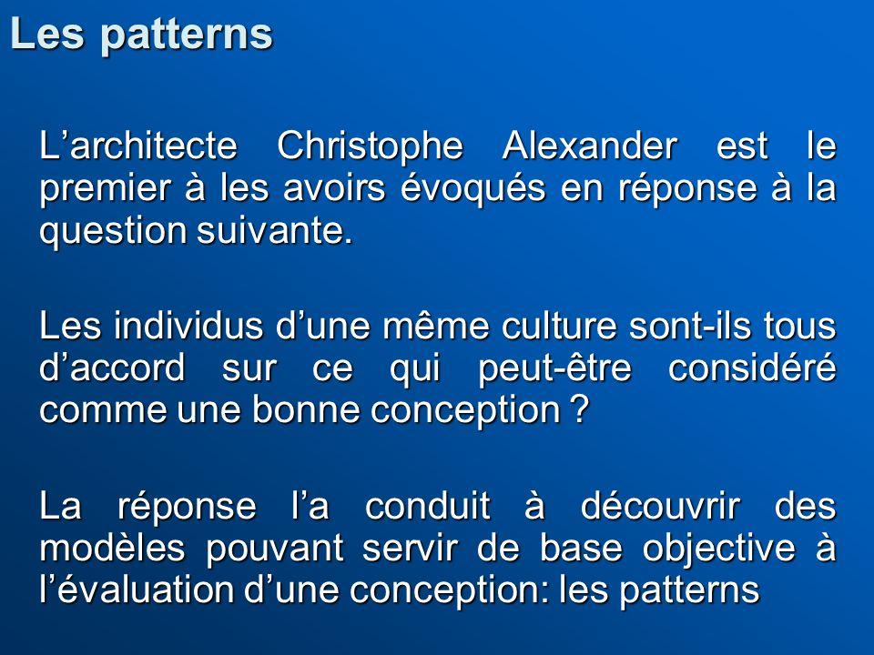 Les patterns L'architecte Christophe Alexander est le premier à les avoirs évoqués en réponse à la question suivante.