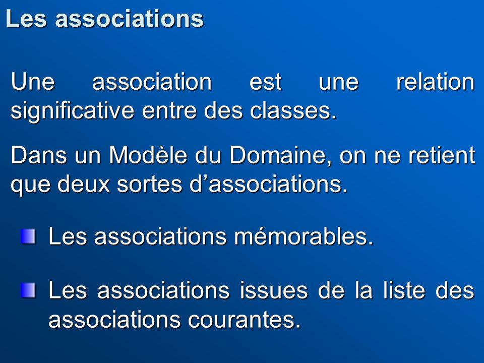 Les associations Une association est une relation significative entre des classes.