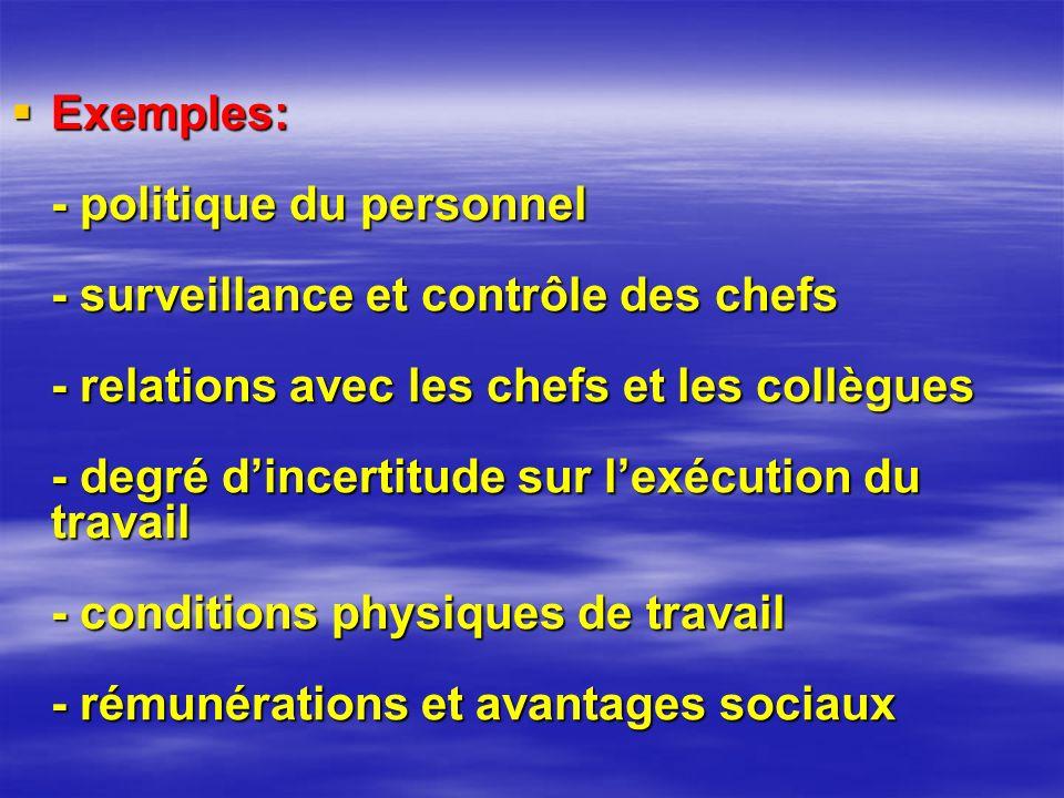 Exemples: - politique du personnel - surveillance et contrôle des chefs - relations avec les chefs et les collègues - degré d'incertitude sur l'exécution du travail - conditions physiques de travail - rémunérations et avantages sociaux