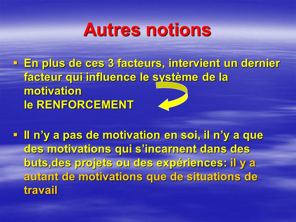 Autres notions En plus de ces 3 facteurs, intervient un dernier facteur qui influence le système de la motivation le RENFORCEMENT.