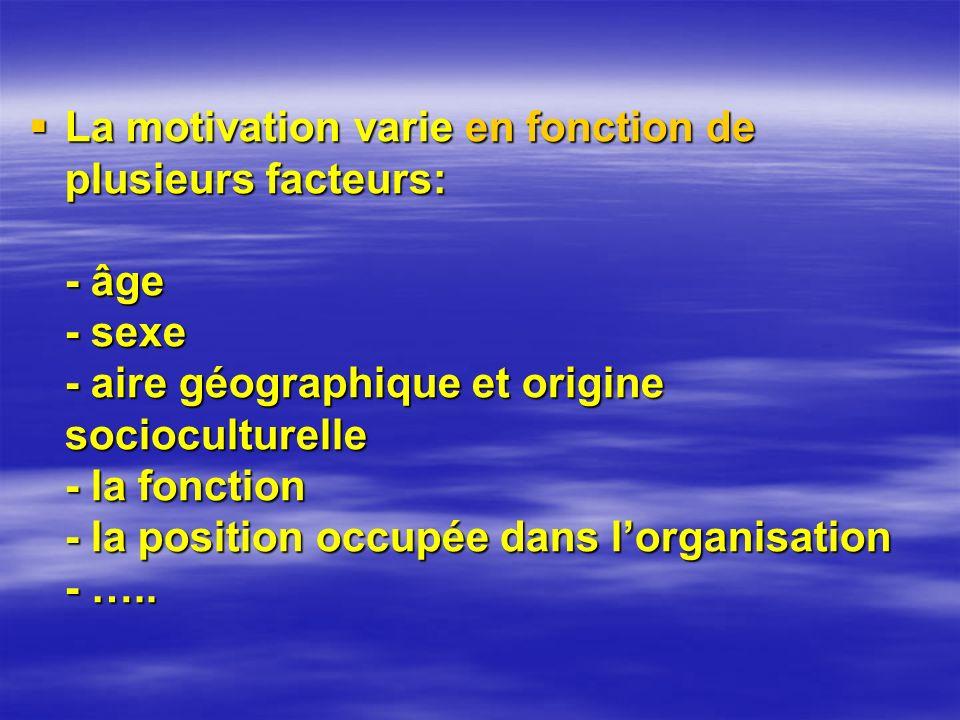 La motivation varie en fonction de plusieurs facteurs: - âge - sexe - aire géographique et origine socioculturelle - la fonction - la position occupée dans l'organisation - …..