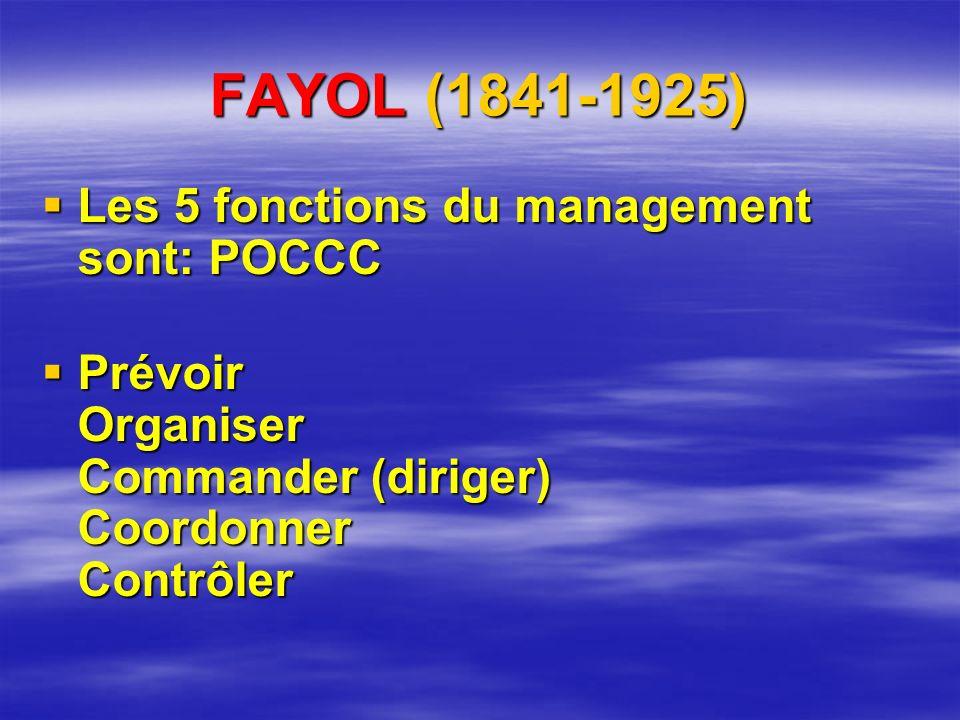 FAYOL (1841-1925) Les 5 fonctions du management sont: POCCC