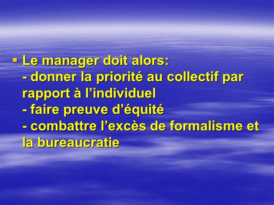 Le manager doit alors: - donner la priorité au collectif par rapport à l'individuel - faire preuve d'équité - combattre l'excès de formalisme et la bureaucratie