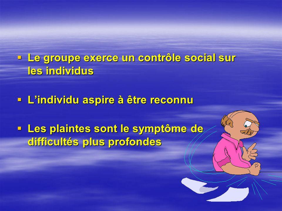 Le groupe exerce un contrôle social sur les individus