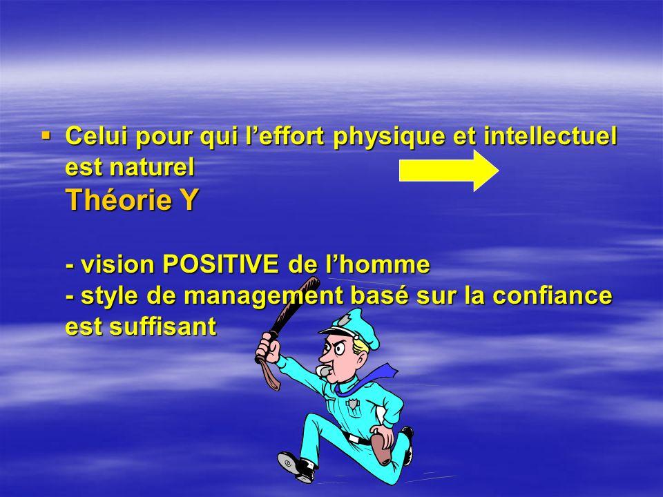 Celui pour qui l'effort physique et intellectuel est naturel Théorie Y - vision POSITIVE de l'homme - style de management basé sur la confiance est suffisant