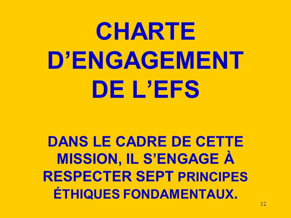 CHARTE D'ENGAGEMENT DE L'EFS DANS LE CADRE DE CETTE MISSION, IL S'ENGAGE À RESPECTER SEPT PRINCIPES ÉTHIQUES FONDAMENTAUX.