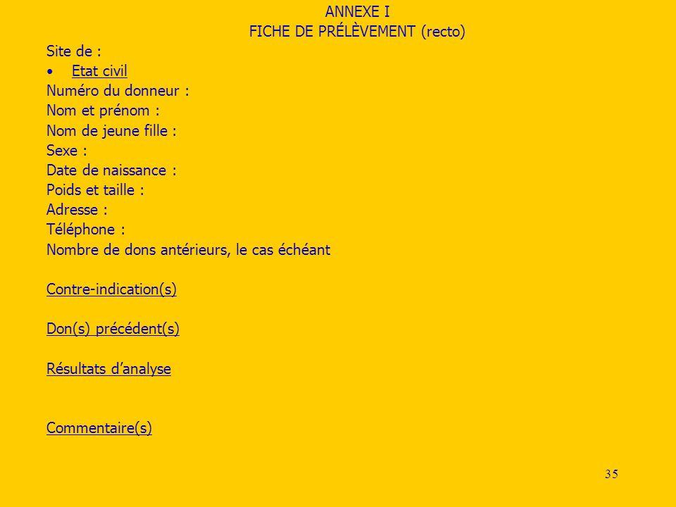 FICHE DE PRÉLÈVEMENT (recto)