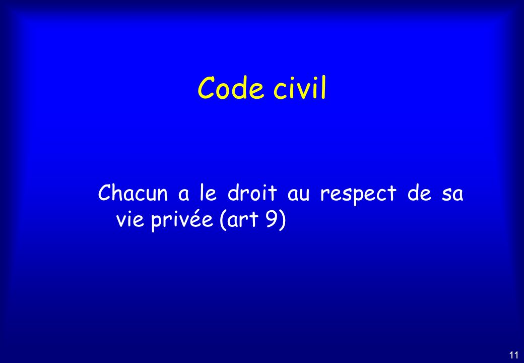 Code civil Chacun a le droit au respect de sa vie privée (art 9)
