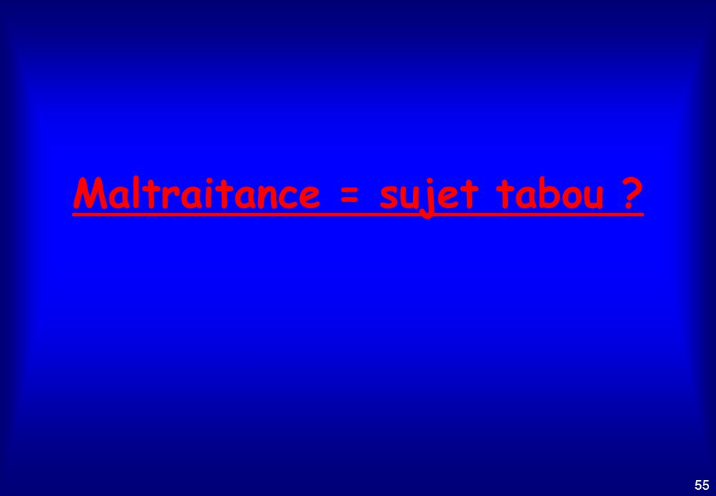 Maltraitance = sujet tabou