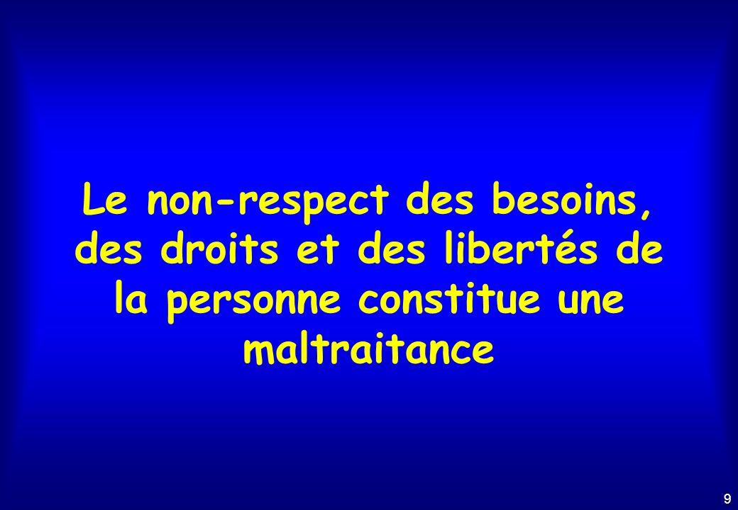 Le non-respect des besoins, des droits et des libertés de la personne constitue une maltraitance