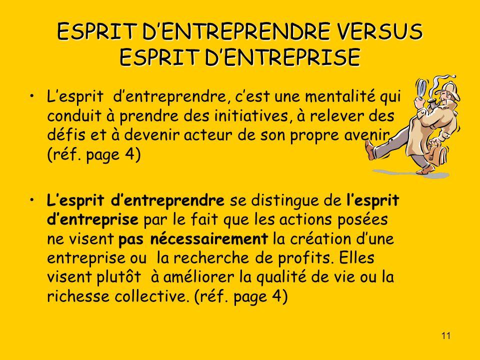 ESPRIT D'ENTREPRENDRE VERSUS ESPRIT D'ENTREPRISE