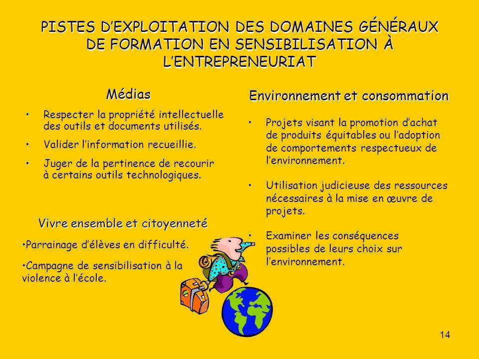 DOCUMENT 3 PISTES D'EXPLOITATION DES DOMAINES GÉNÉRAUX DE FORMATION EN SENSIBILISATION À L'ENTREPRENEURIAT.