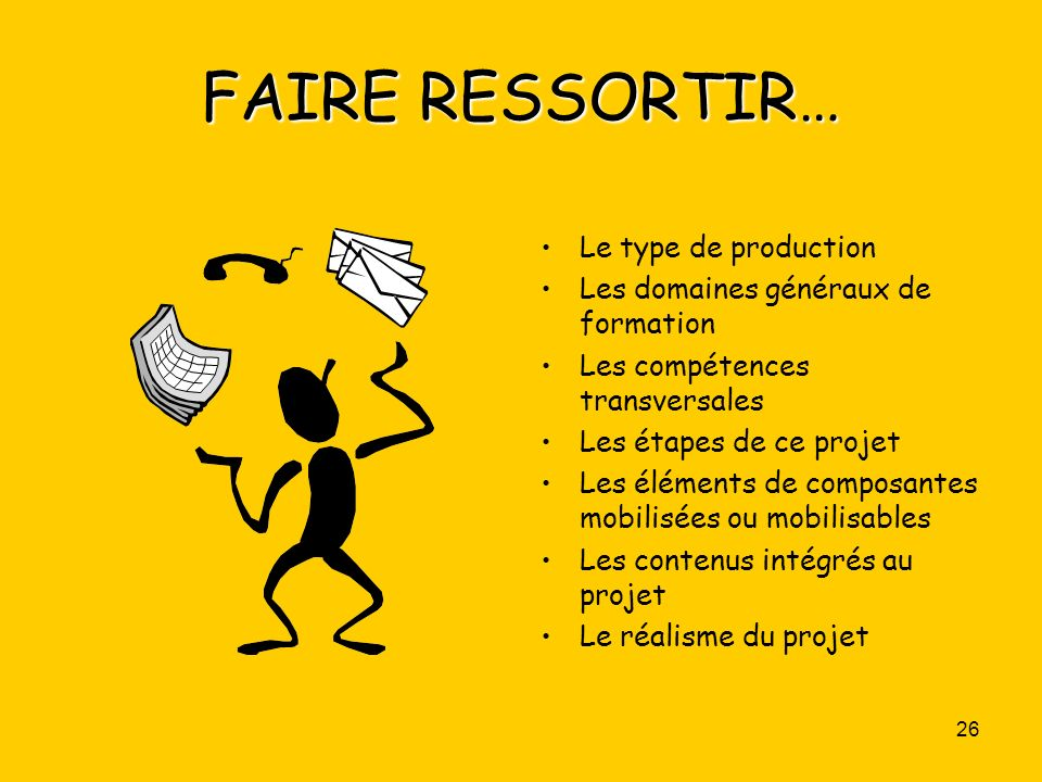 FAIRE RESSORTIR… Le type de production