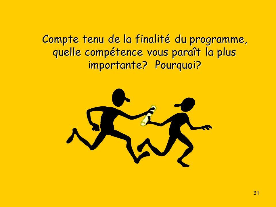 DOCUMENT 3 Compte tenu de la finalité du programme, quelle compétence vous paraît la plus importante.