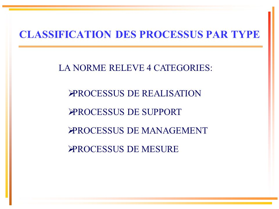 CLASSIFICATION DES PROCESSUS PAR TYPE