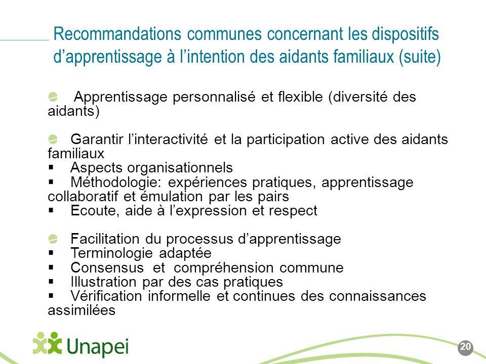 Recommandations communes concernant les dispositifs d'apprentissage à l'intention des aidants familiaux (suite)