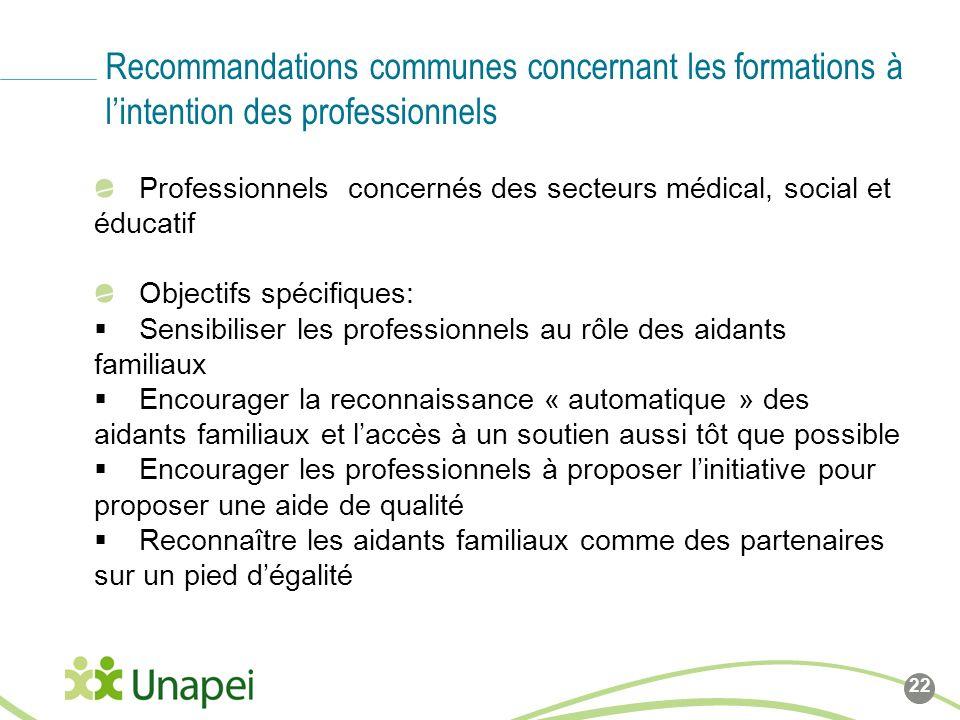 Recommandations communes concernant les formations à l'intention des professionnels