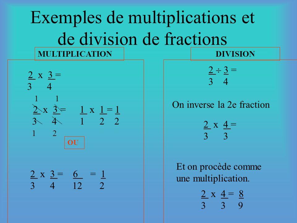 Exemples de multiplications et de division de fractions