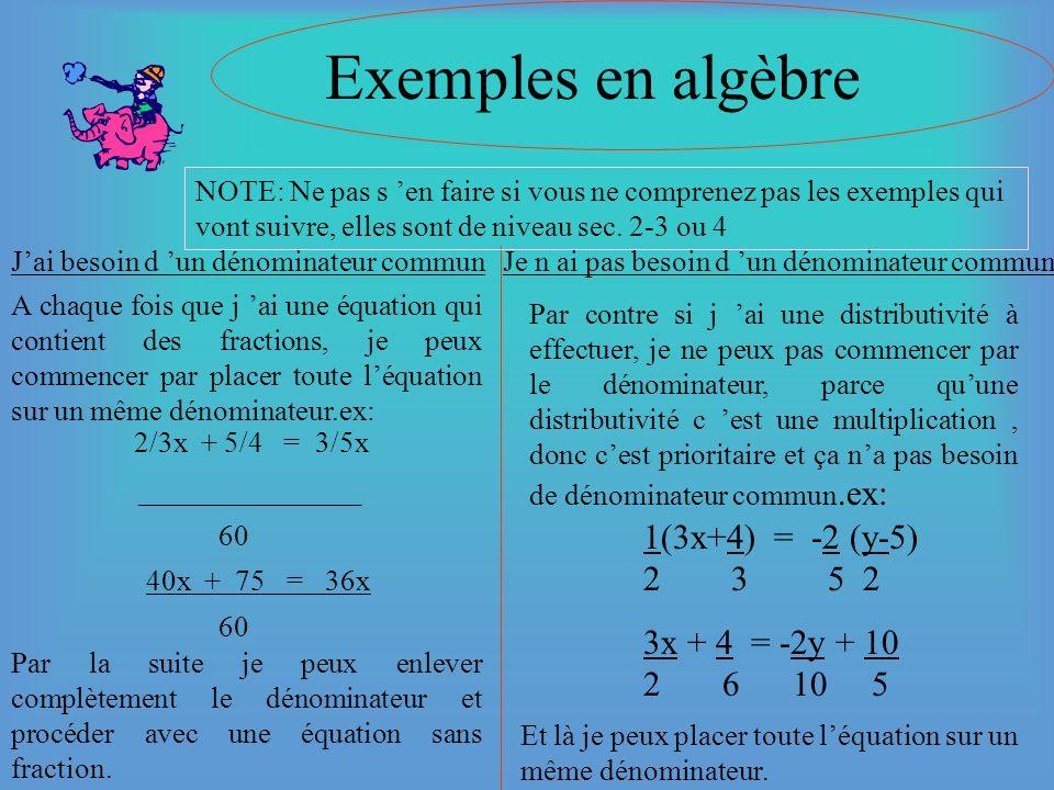 Exemples en algèbre 2/3x + 5/4 = 3/5x 1(3x+4) = -2 (y-5) 2 3 5 2