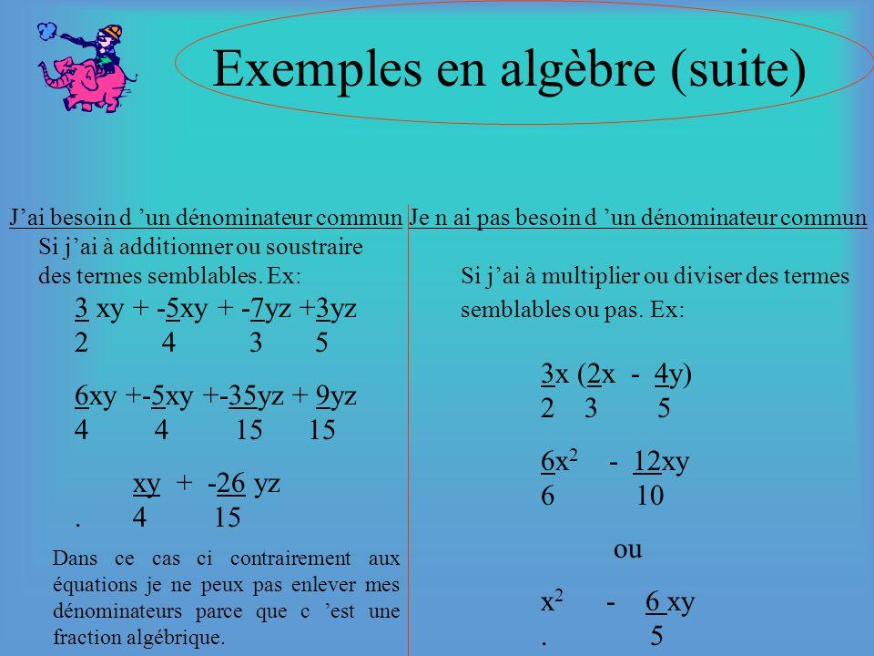 Exemples en algèbre (suite)