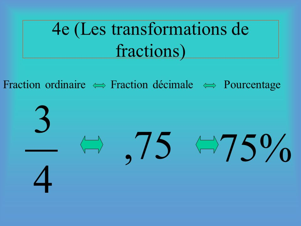 4e (Les transformations de fractions)