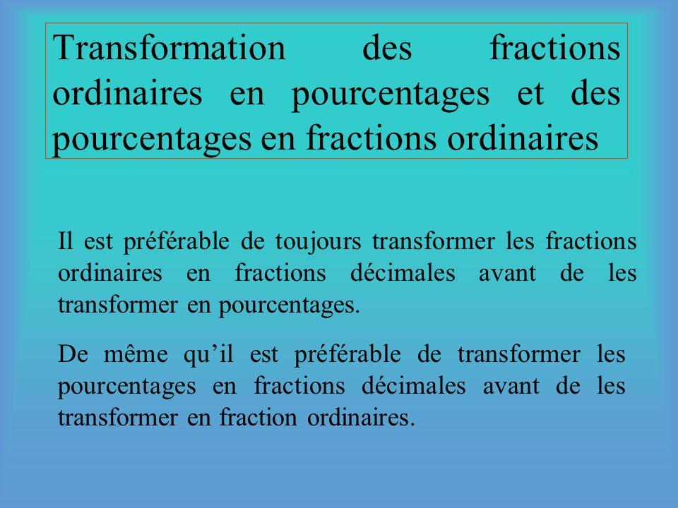 Transformation des fractions ordinaires en pourcentages et des pourcentages en fractions ordinaires