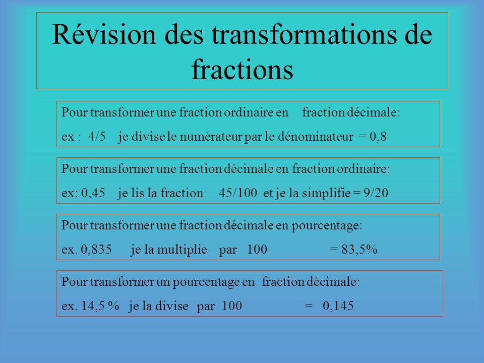 Révision des transformations de fractions