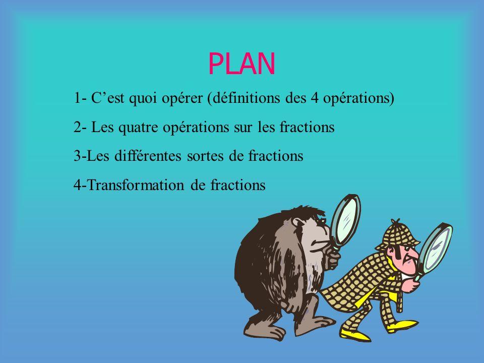 PLAN 1- C'est quoi opérer (définitions des 4 opérations)