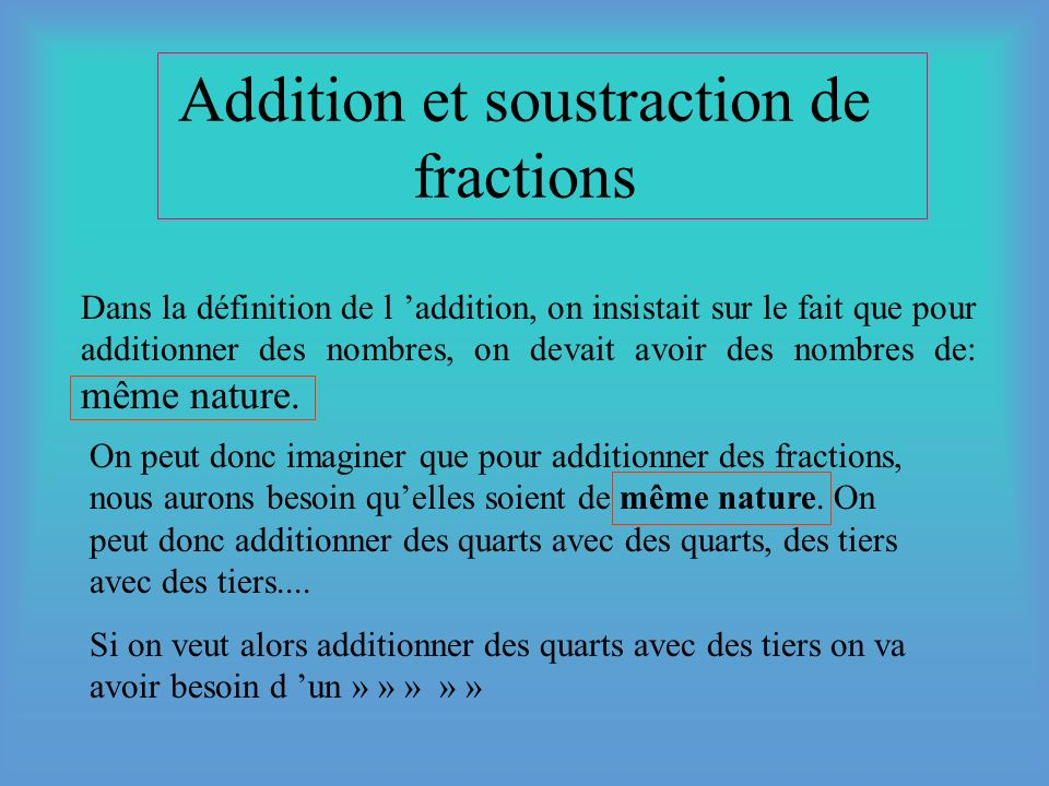 Addition et soustraction de fractions