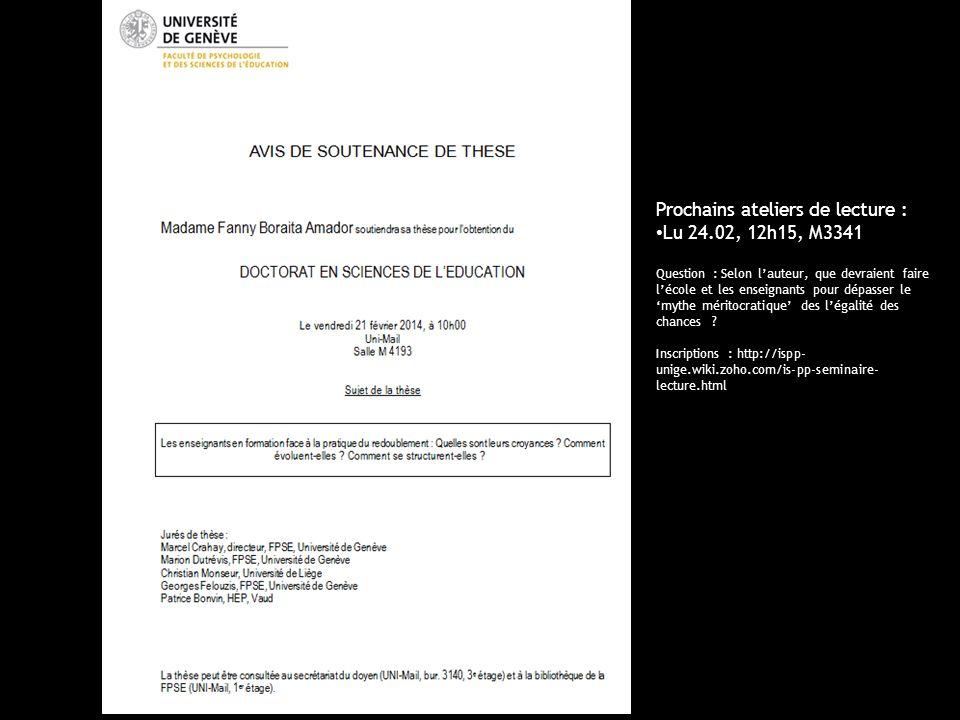 Prochains ateliers de lecture : Lu 24.02, 12h15, M3341