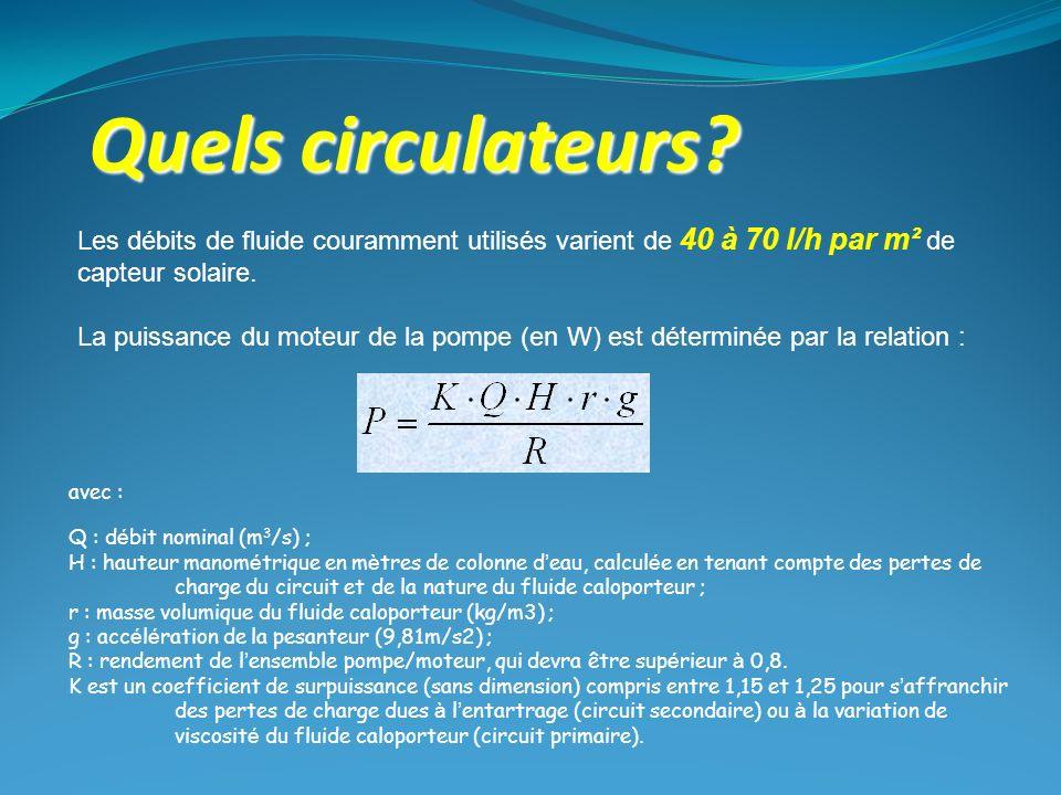 Quels circulateurs Les débits de fluide couramment utilisés varient de 40 à 70 l/h par m² de capteur solaire.
