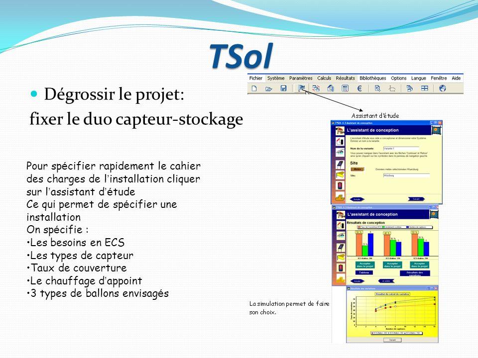 TSol Dégrossir le projet: fixer le duo capteur-stockage