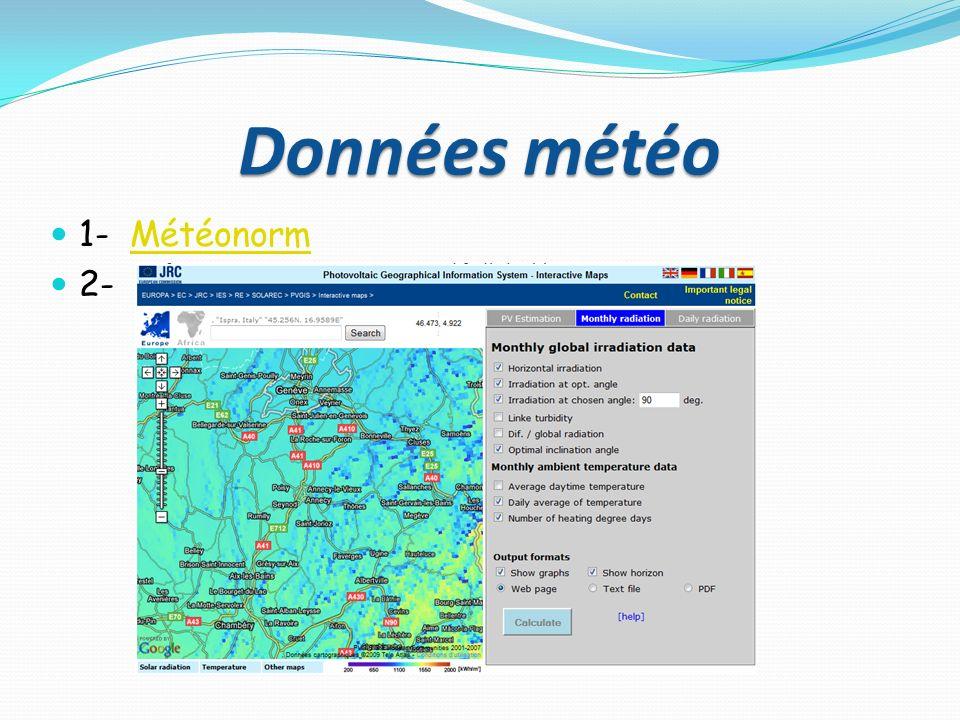 Données météo 1- Météonorm 2-